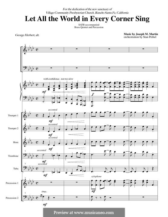 Let All the World in Every Corner Sing: Score by Joseph M. Martin