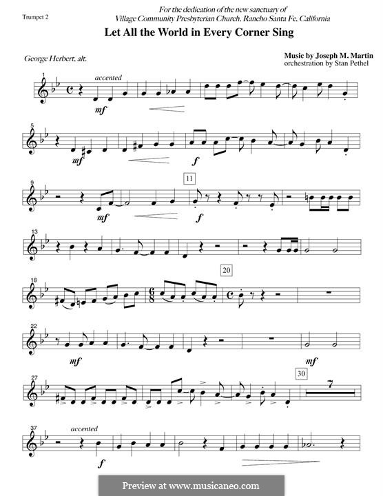 Let All the World in Every Corner Sing: Bb Trumpet 2 part by Joseph M. Martin