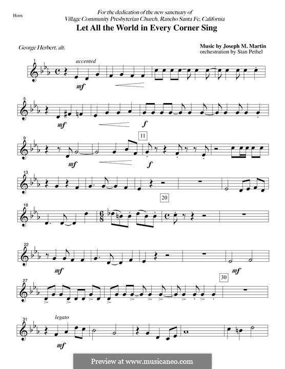 Let All the World in Every Corner Sing: F Horn part by Joseph M. Martin