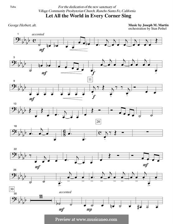 Let All the World in Every Corner Sing: Tuba part by Joseph M. Martin