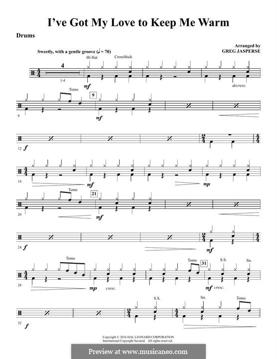 I've Got My Love to Keep Me Warm (Frank Sinatra): Drums part by Irving Berlin