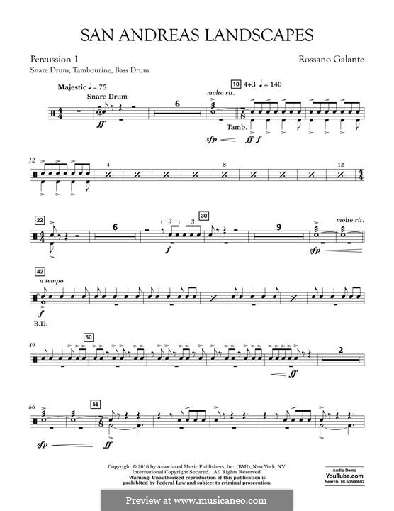 San Andreas Landscapes: Percussion 1 part by Rossano Galante