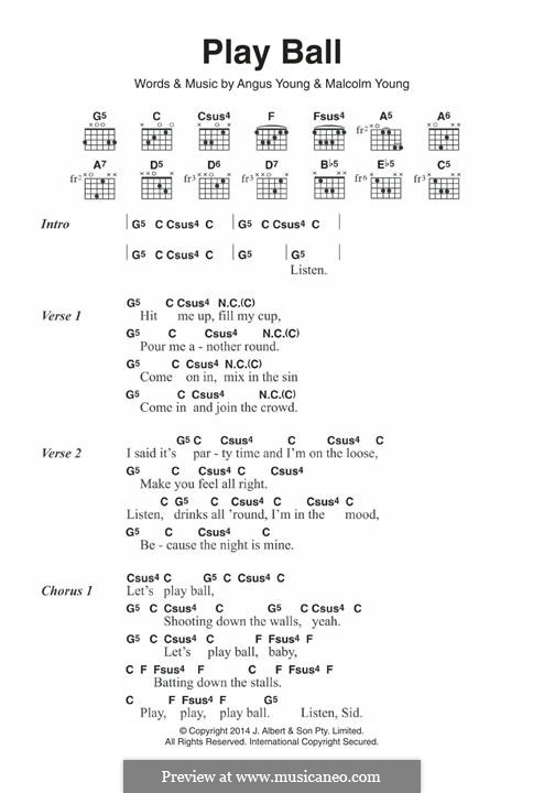 Play Ball (AC/DC): For guitar by Angus Young, Malcolm Young