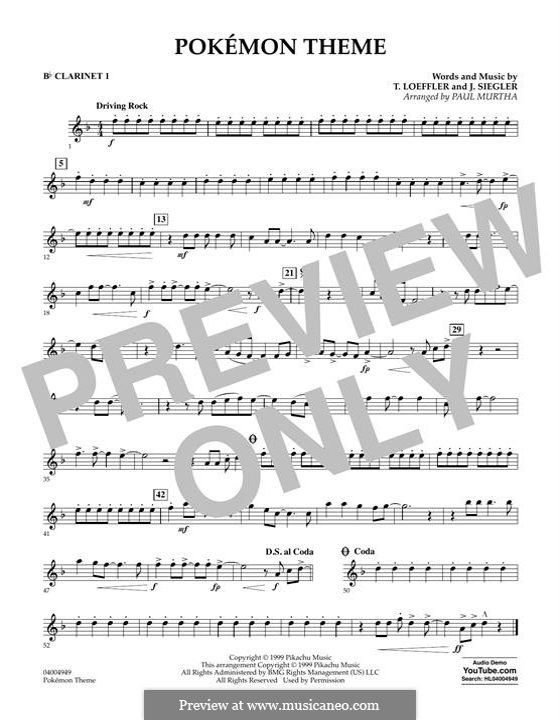 Pokemon Theme (arr. Paul Murtha): Bb Clarinet 1 part by J. Siegler, T. Loeffler