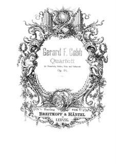 Piano Quartet in E Major, Op.34: Piano Quartet in E Major by Gerard Francis Cobb