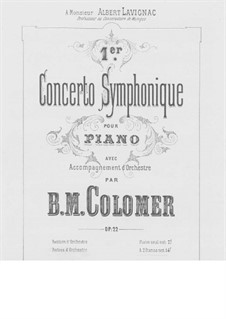 Symphony Concert No.1 for Piano and Orchestra, Op.22: Arrangement for two pianos four hands by Blas María de Colomer