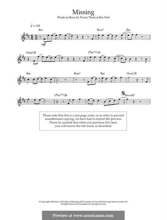 Missing (Everything But the Girl): For flute by Benjamin Watt