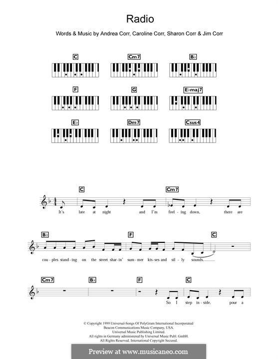 Radio (The Corrs): For piano by Andrea Corr, Caroline Corr, Jim Corr, Sharon Corr