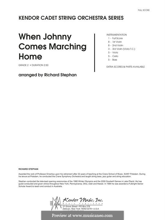 When Johnny Comes Marching Home: Full Score by folklore