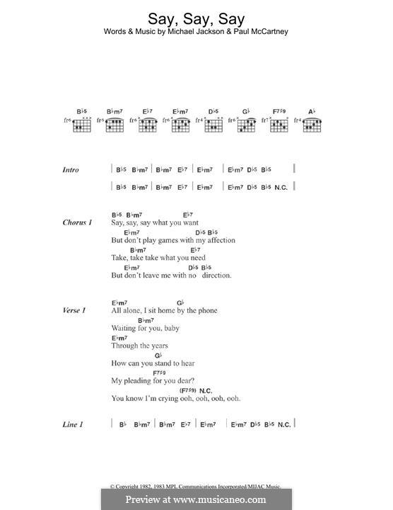 Say Say Say: For guitar by Michael Jackson, Paul McCartney