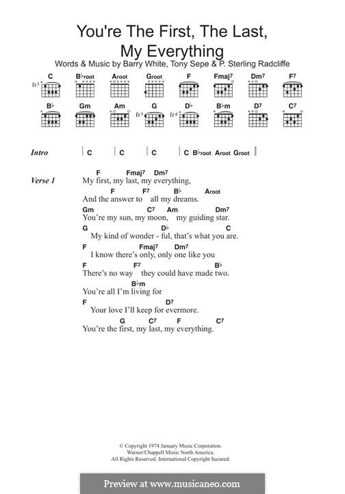 You're the First, the Last, My Everything: For guitar by Barry White, P. Sterling Radcliffe, Tony Sepe