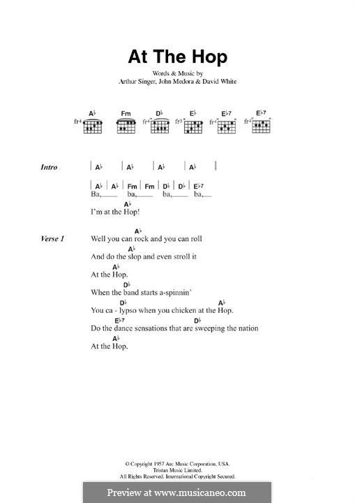 At the Hop (Danny & The Juniors): For guitar by Arthur Singer, David White, John Medora