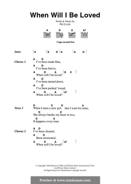 When Will I Be Loved? (The Everly Brothers): For guitar by Phil Everly