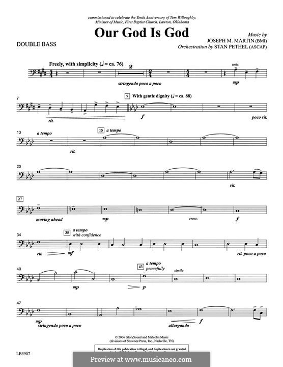Our God Is God: Double Bass part by Joseph M. Martin