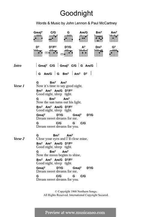 Good Night (The Beatles): For guitar by John Lennon, Paul McCartney