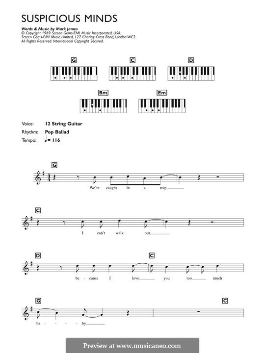 Suspicious Minds (Elvis Presley): For piano by Francis Zambon
