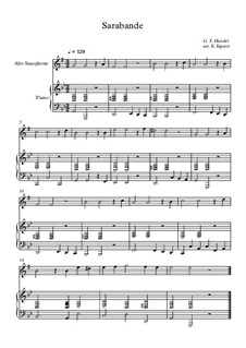 10 Easy Classical Pieces For Alto Saxophone & Piano Vol.5: Sarabande by Wolfgang Amadeus Mozart, Franz Schubert, Antonín Dvořák, Georges Bizet, Georg Friedrich Händel, Giuseppe Verdi, Pyotr Tchaikovsky, Émile Waldteufel, Adolphe Adam, Sebastián Yradier