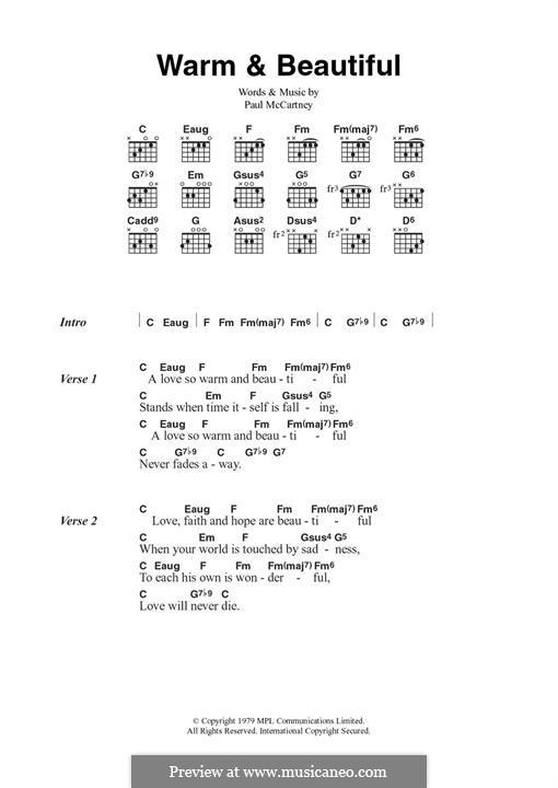Warm and Beautiful (Wings): For guitar by Linda McCartney, Paul McCartney