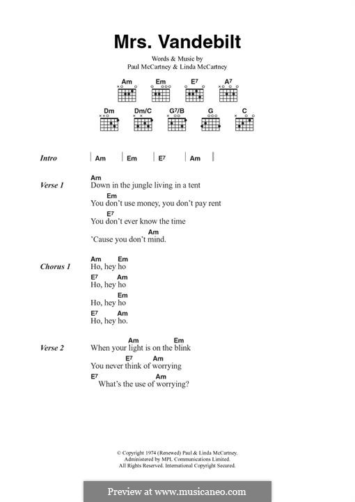Mrs. Vandebilt (Wings): For guitar by Linda McCartney, Paul McCartney
