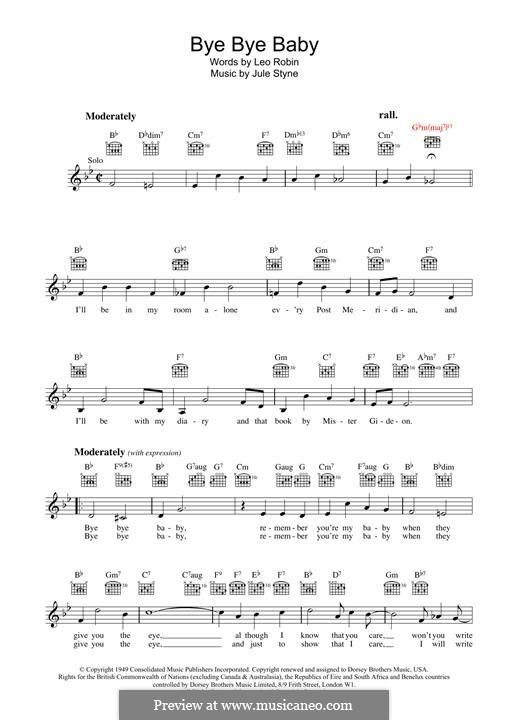 Bye Bye Baby: For keyboard by Jule Styne
