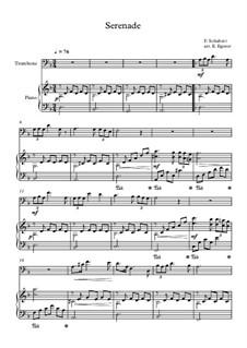 10 Easy Classical Pieces For Trombone & Piano Vol.5: Serenade by Wolfgang Amadeus Mozart, Franz Schubert, Antonín Dvořák, Georges Bizet, Georg Friedrich Händel, Giuseppe Verdi, Pyotr Tchaikovsky, Émile Waldteufel, Adolphe Adam, Sebastián Yradier