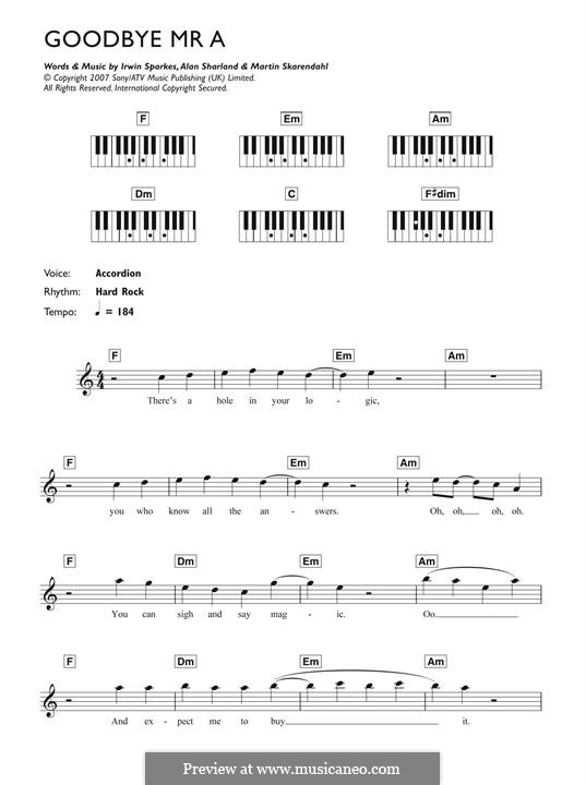 Goodbye Mr. A (The Hoosiers): For piano by Alan Sharland, Irwin Sparkes, Martin Skarendahl
