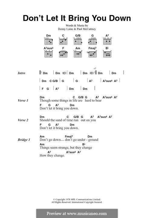 Don't Let It Bring You Down (Wings): For guitar by Denny Laine, Paul McCartney