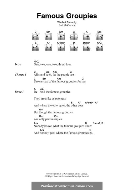 Famous Groupies (Wings): For guitar by Paul McCartney
