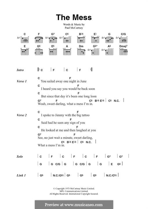 The Mess (Wings): For guitar by Paul McCartney