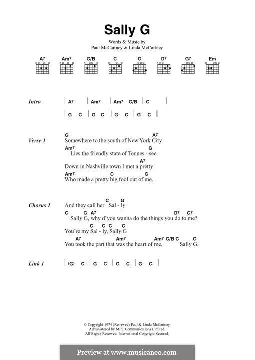 Sally G (Wings): For guitar by Linda McCartney, Paul McCartney