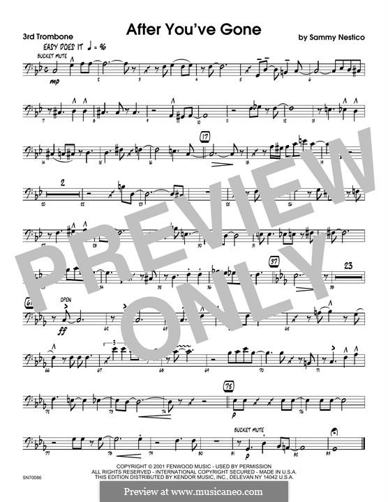 After You've Gone: 3rd Trombone part by Sammy Nestico
