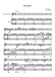 10 Easy Classical Pieces For Alto Saxophone & Piano Vol.5: Serenade by Wolfgang Amadeus Mozart, Franz Schubert, Antonín Dvořák, Georges Bizet, Georg Friedrich Händel, Giuseppe Verdi, Pyotr Tchaikovsky, Émile Waldteufel, Adolphe Adam, Sebastián Yradier