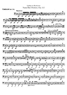 An Minna, WoO 115: Timpani part by Ludwig van Beethoven