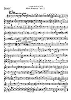 Missa Solemnis, Op.123: Horns parts by Ludwig van Beethoven