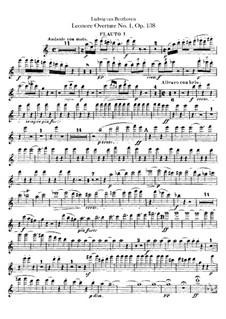 Leonore. Overture No.1, Op.138: Flutes I, II parts by Ludwig van Beethoven