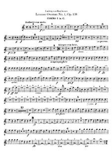 Leonore. Overture No.1, Op.138: Horns parts by Ludwig van Beethoven