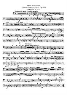 Leonore. Overture No.1, Op.138: Timpani part by Ludwig van Beethoven
