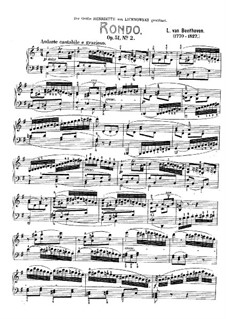 Two Rondos for Piano, Op.51: Rondo No.2 by Ludwig van Beethoven