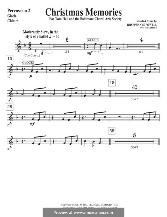 Christmas Memories: Percussion 2 part by Rosephanye Powell