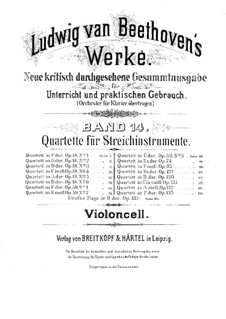 Quartet No.1 in F Major: Cello part by Ludwig van Beethoven