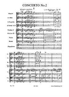 Concerto for Piano and Orchestra No.2, Op.19: Full score by Ludwig van Beethoven