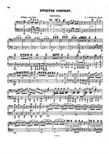 Concerto for Piano and Orchestra No.2, Op.19: Movement I, for piano four hands by Ludwig van Beethoven