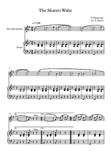 10 Easy Classical Pieces For Alto Saxophone & Piano Vol.5: The Skaters Waltz by Wolfgang Amadeus Mozart, Franz Schubert, Antonín Dvořák, Georges Bizet, Georg Friedrich Händel, Giuseppe Verdi, Pyotr Tchaikovsky, Émile Waldteufel, Adolphe Adam, Sebastián Yradier