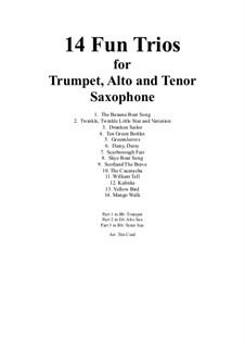 14 Fun Trios: For trumpet, alto and tenor saxophone by folklore