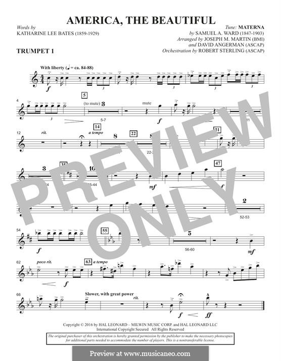 America, The Beautiful (arr. David Angerman): Bb Trumpet 1 part by Samuel Augustus Ward