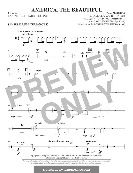 America, The Beautiful (arr. David Angerman): Snare Drum, Triangle part by Samuel Augustus Ward