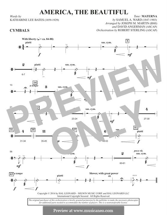 America, The Beautiful (arr. David Angerman): Cymbals part by Samuel Augustus Ward