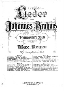 Six Songs, Op.3: No.1 Liebestreu (Fidelity in Love), for Piano by Johannes Brahms