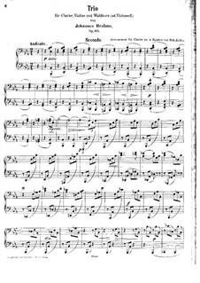Trio for French Horn (or Cello), Violin and Piano, Op.40: Version for piano four hands by Johannes Brahms