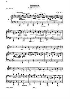 Five Songs, Op.47: No.1 Botschaft (Message) by Johannes Brahms